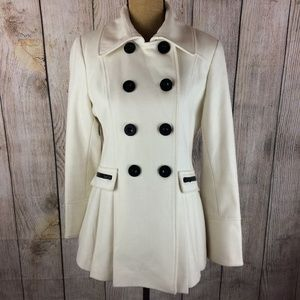 Moda International Cream Button Front Peacoat Sz M